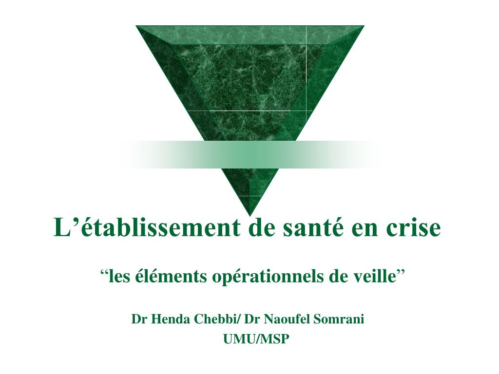 l tablissement de sant en crise l.
