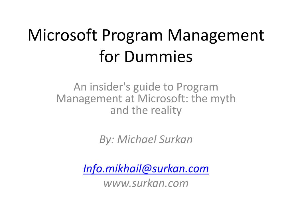 microsoft program management for dummies l.
