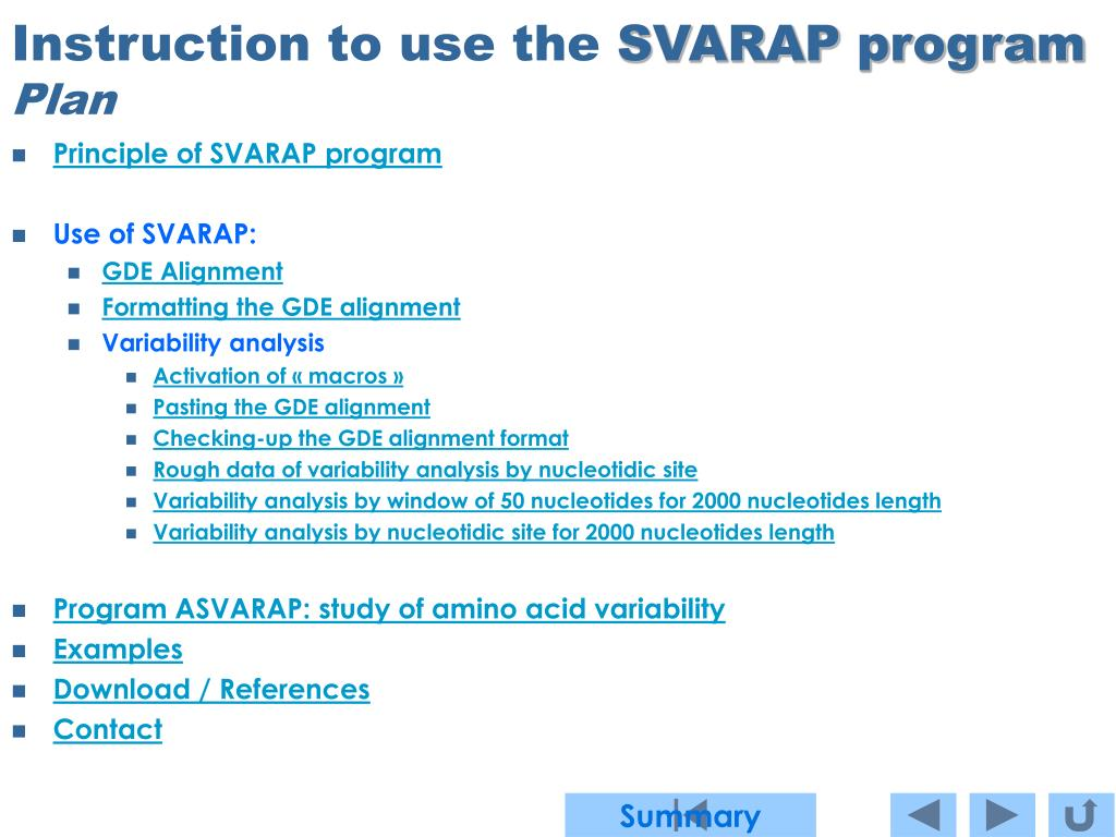 instruction to use the svarap program plan l.