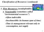 classification of resources continued