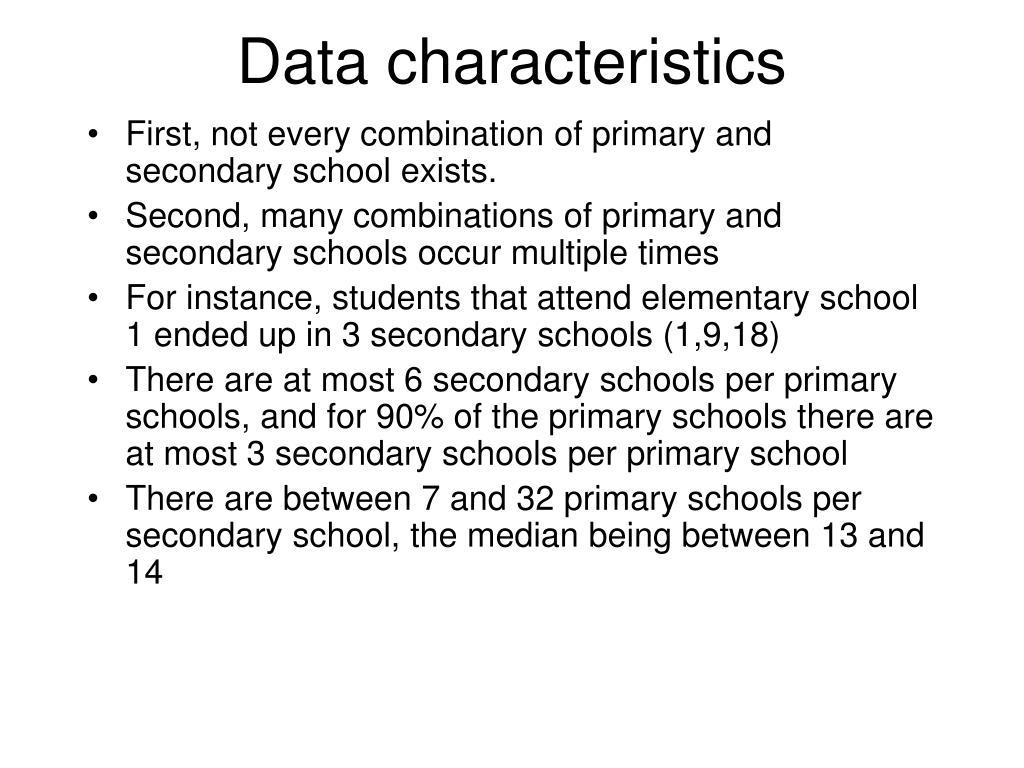 Data characteristics