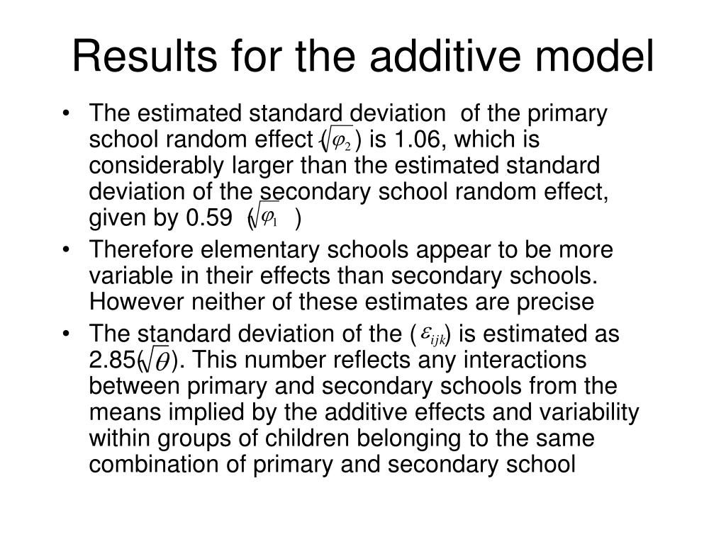 Results for the additive model