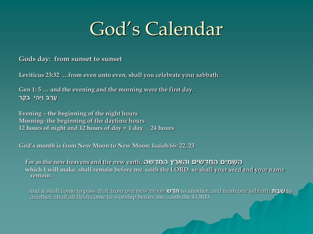 god s calendar l.