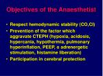 objectives of the anaesthetist