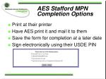 aes stafford mpn completion options