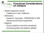 functional considerations on campus