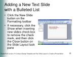 adding a new text slide with a bulleted list