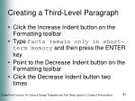 creating a third level paragraph
