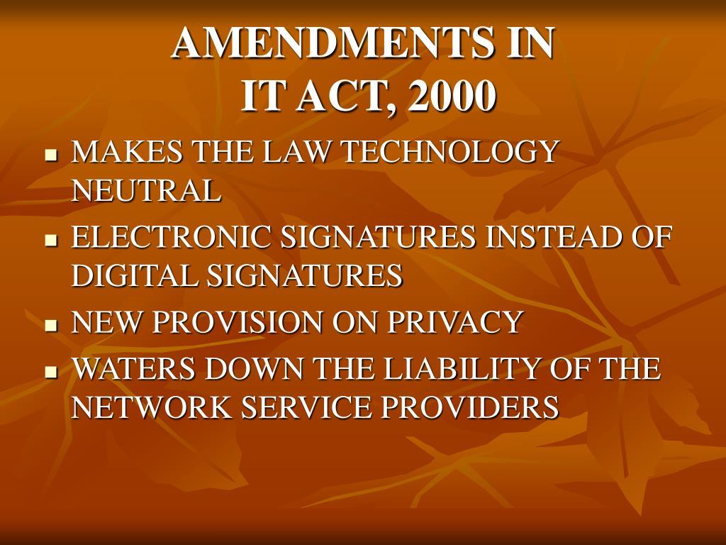 AMENDMENTS IN