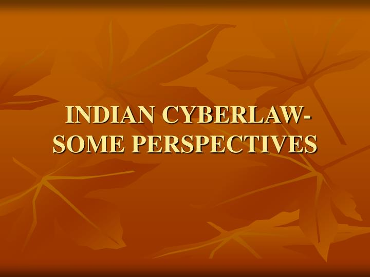 Indian cyberlaw some perspectives