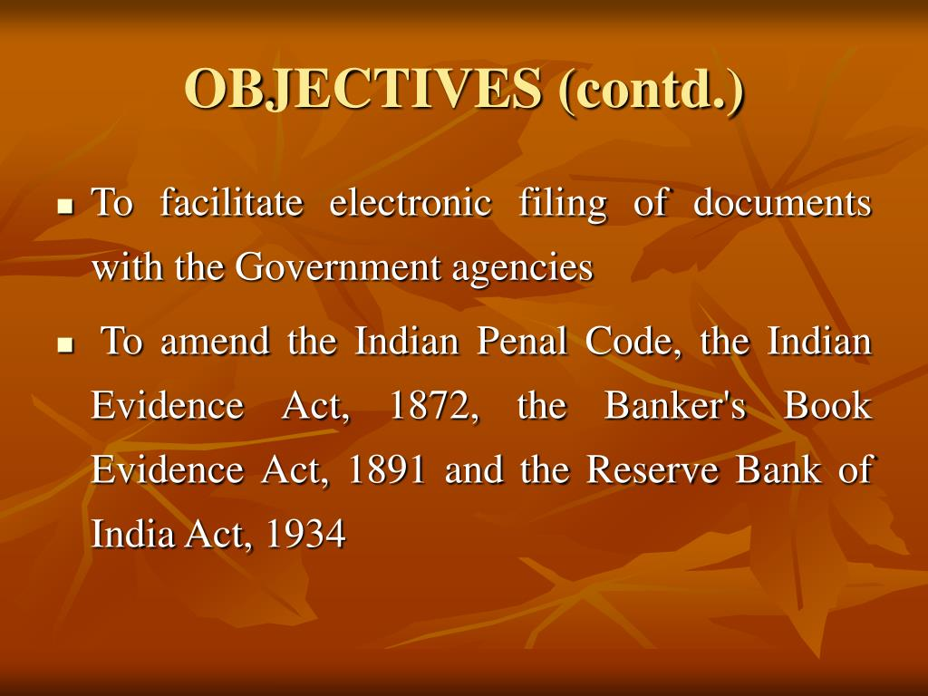 OBJECTIVES (contd.)