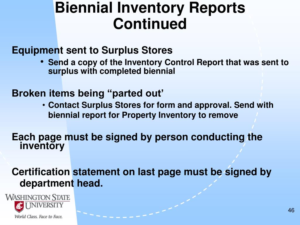 Biennial Inventory Reports