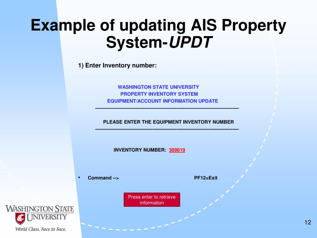 Example of updating AIS Property System-