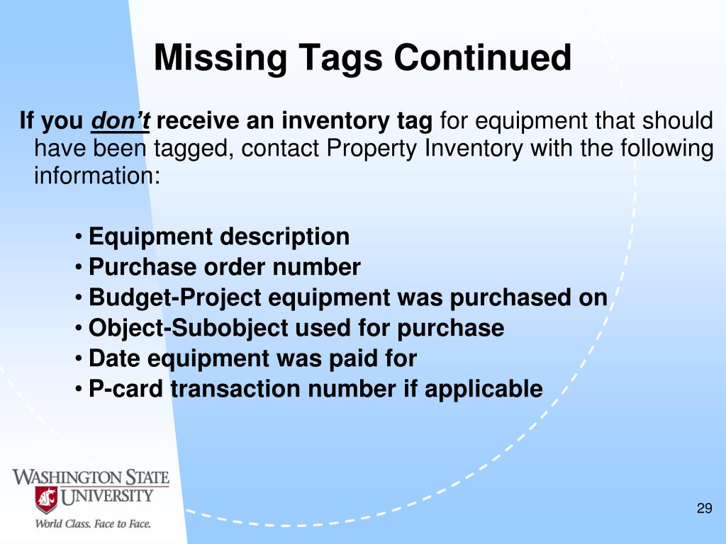 Missing Tags Continued
