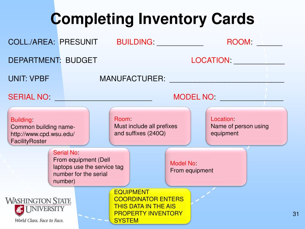 Completing Inventory Cards