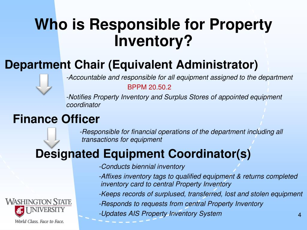 Who is Responsible for Property Inventory?