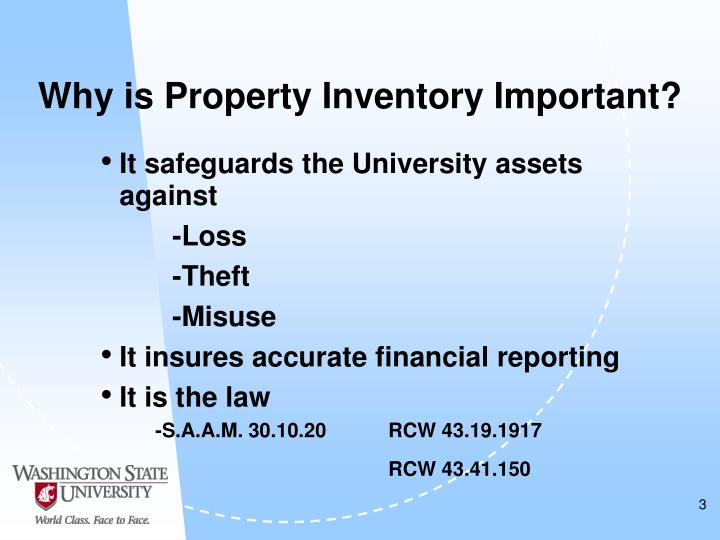 Why is property inventory important