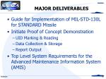 major deliverables