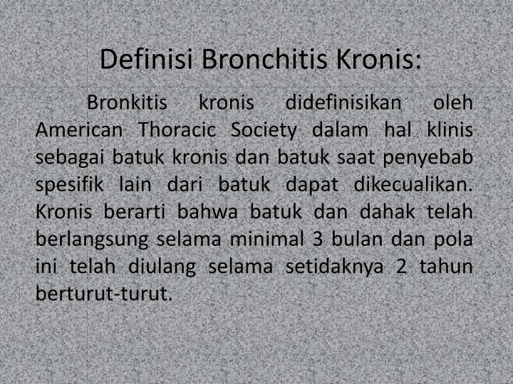 Definisi bronchitis kronis