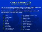 coke products list will also be available on oca website
