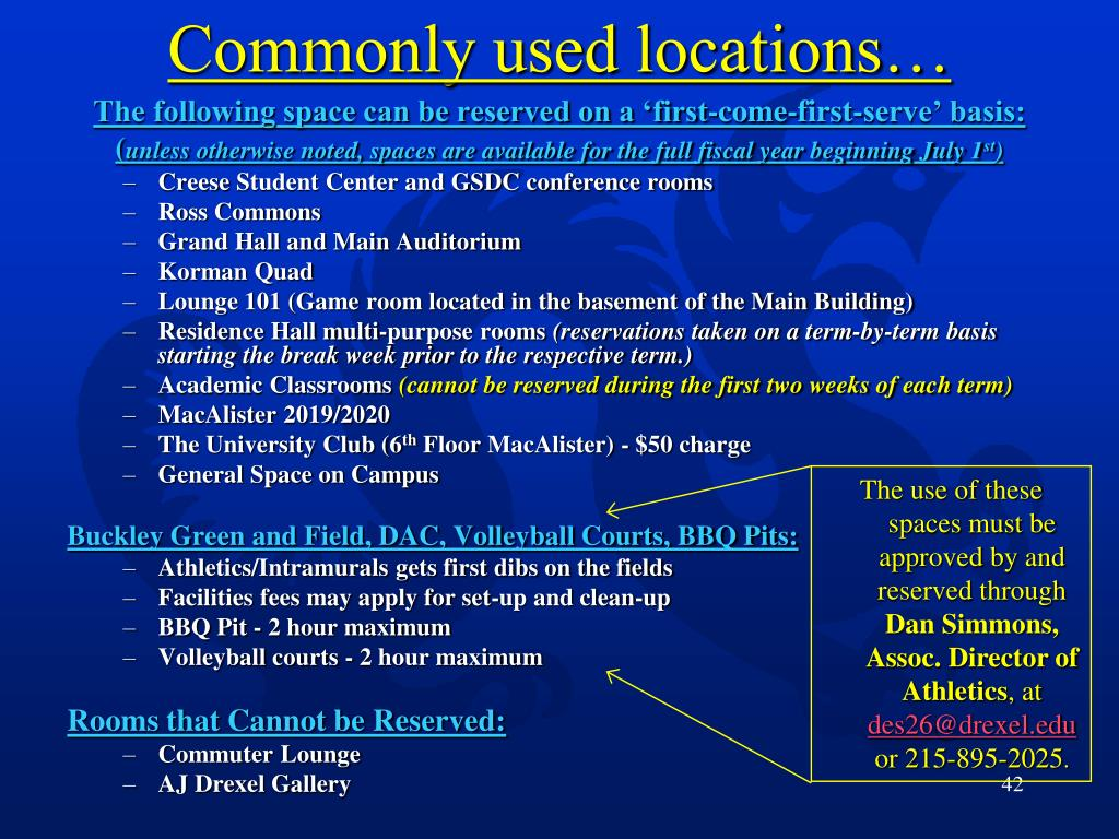 Commonly used locations…