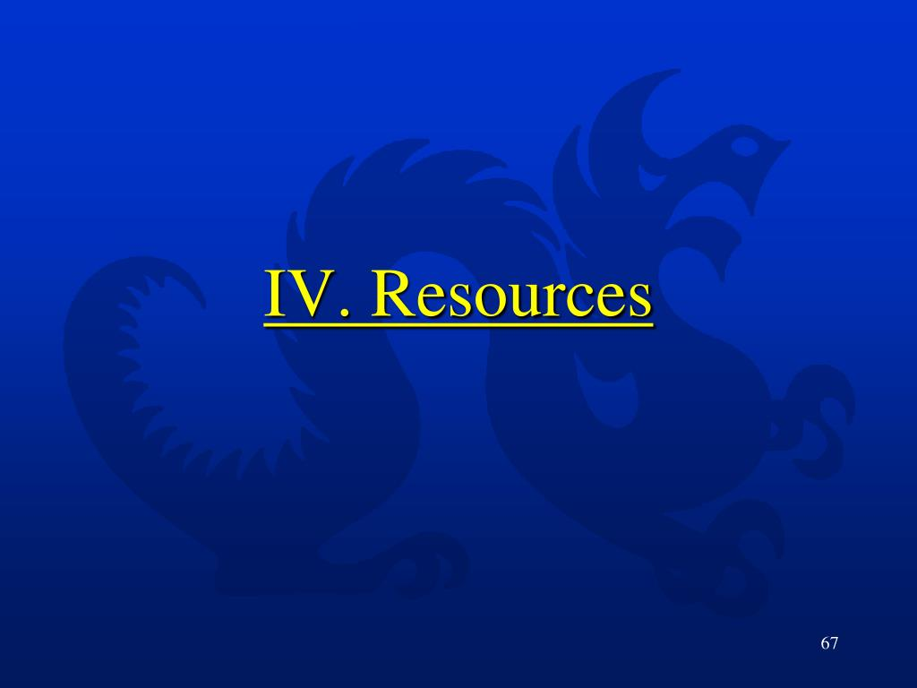 IV. Resources