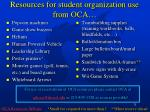 resources for student organization use from oca