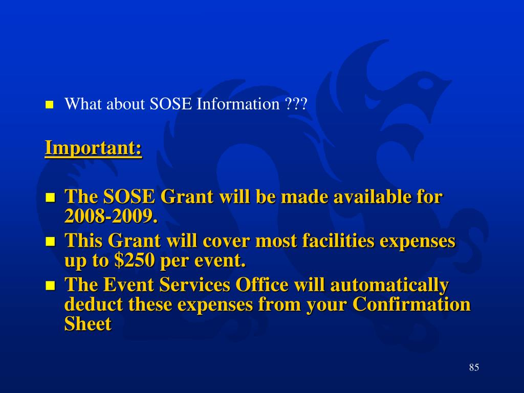 What about SOSE Information ???