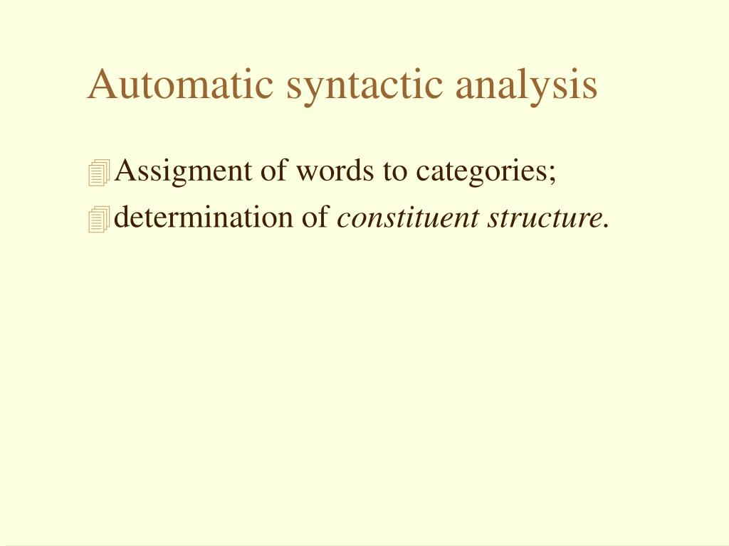Automatic syntactic analysis