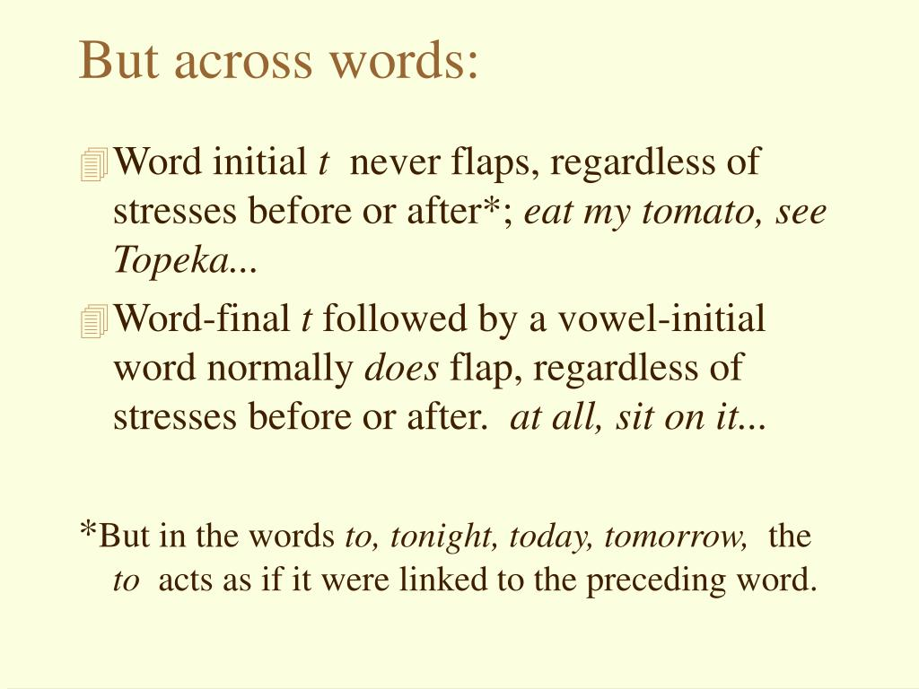 But across words: