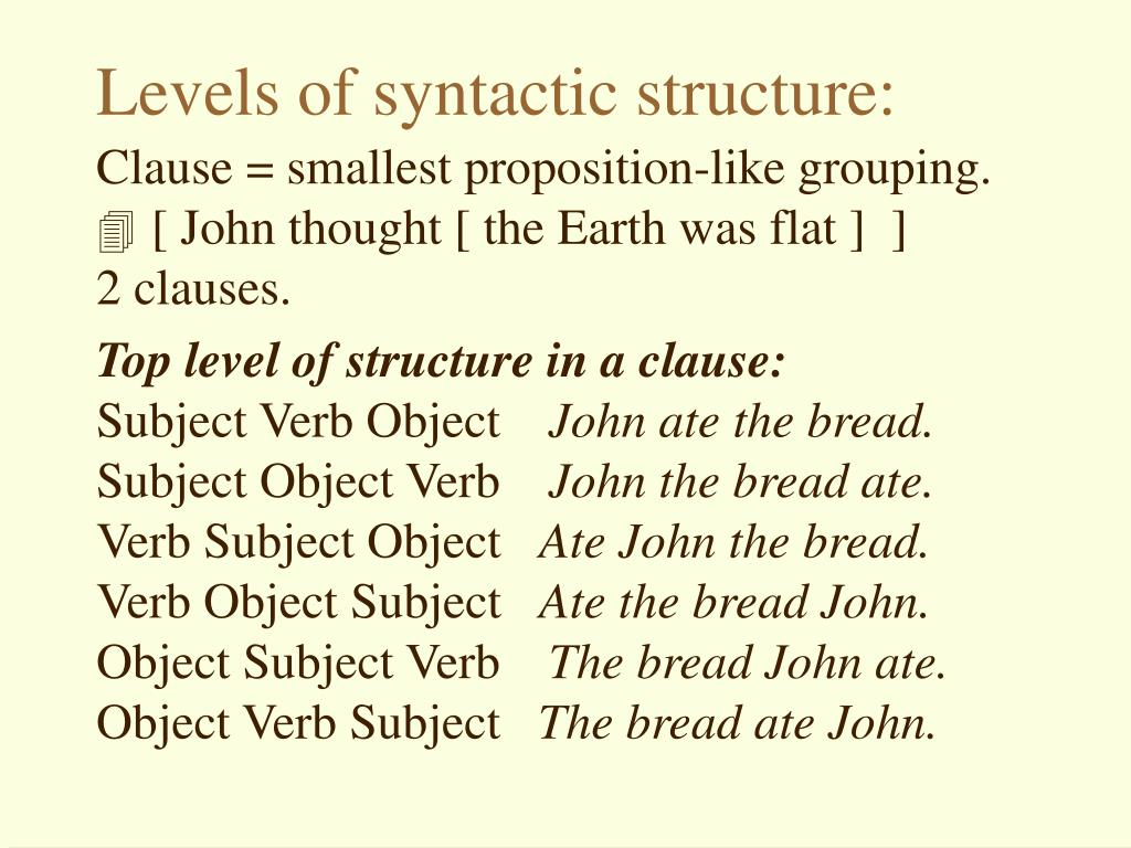 Levels of syntactic structure:
