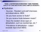 task 4 nutrition hydration tube feeding quality of care indicators using sampled residents