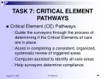 task 7 critical element pathways