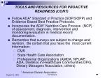 tools and resources for proactive readiness cont
