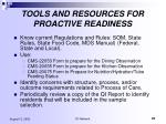 tools and resources for proactive readiness