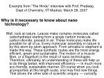 excerpts from the hindu interview with prof pradeep dept of chemistry iit madras march 28 20074