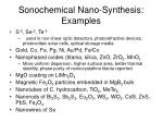 sonochemical nano synthesis examples
