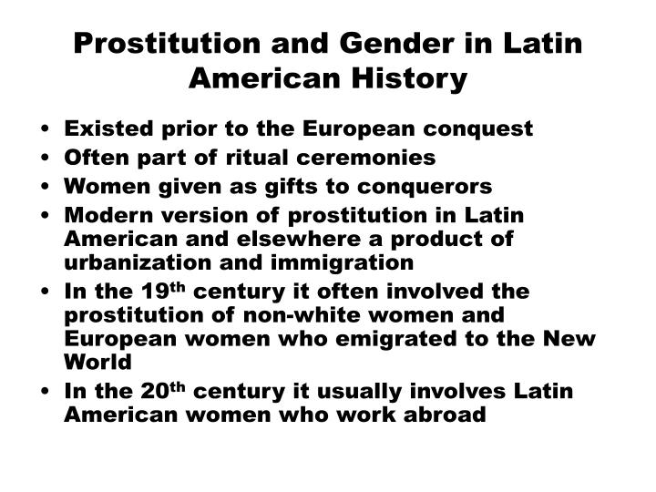 Prostitution and gender in latin american history
