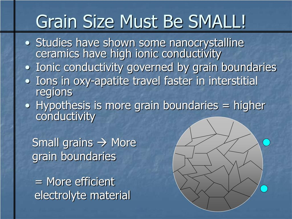 Grain Size Must Be SMALL!