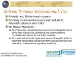 solvent systems international inc