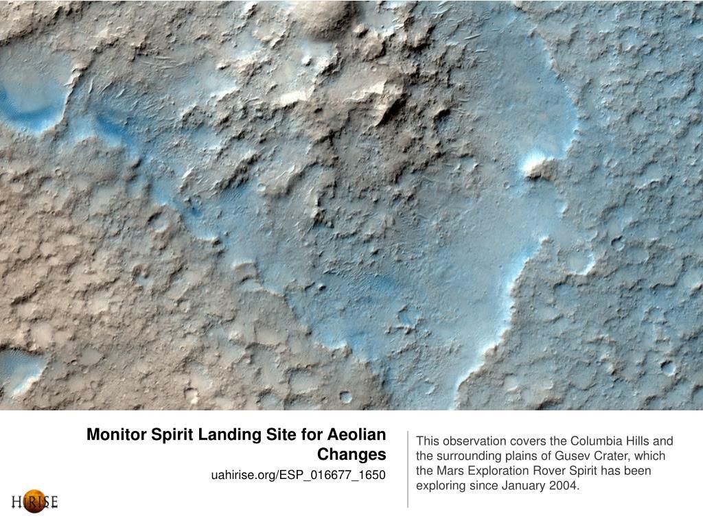 Monitor Spirit Landing Site for Aeolian Changes