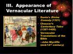 iii appearance of vernacular literature