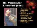 iii vernacular literature cont