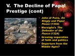 v the decline of papal prestige cont20