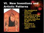 vi new inventions and artistic patterns