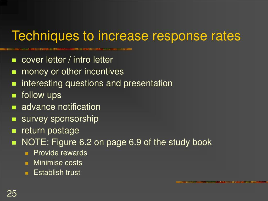 Techniques to increase response rates