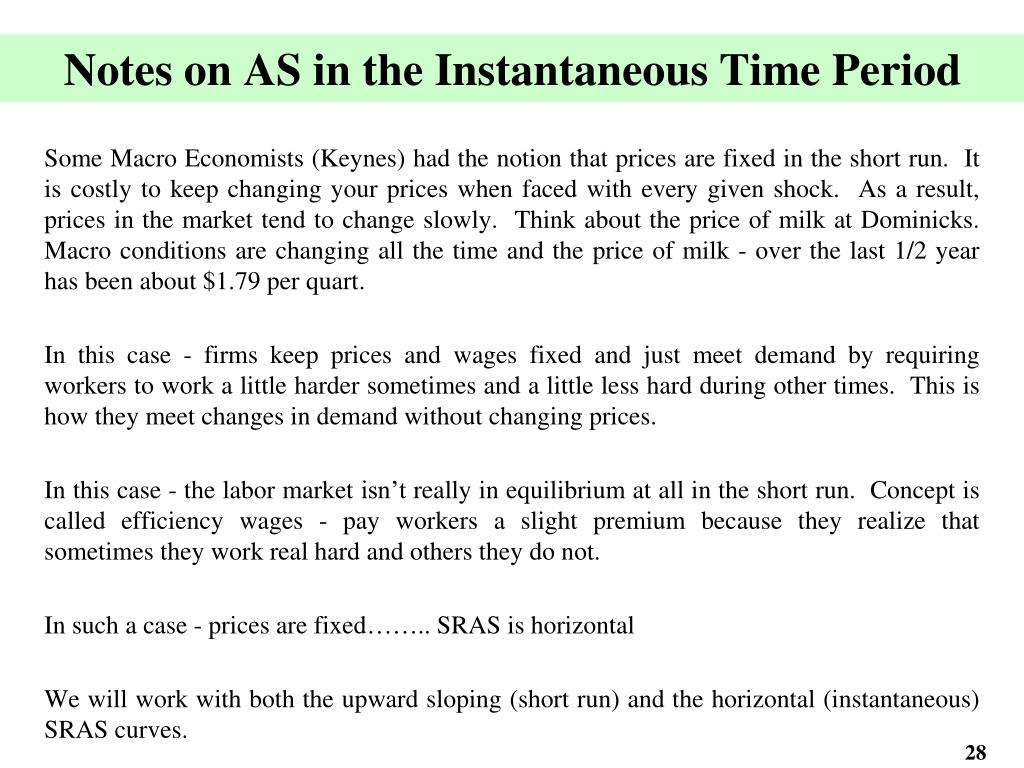 Notes on AS in the Instantaneous Time Period