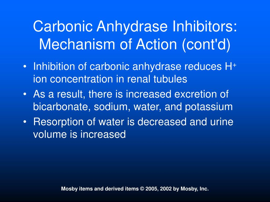 Carbonic Anhydrase Inhibitors:  Mechanism of Action (cont'd)