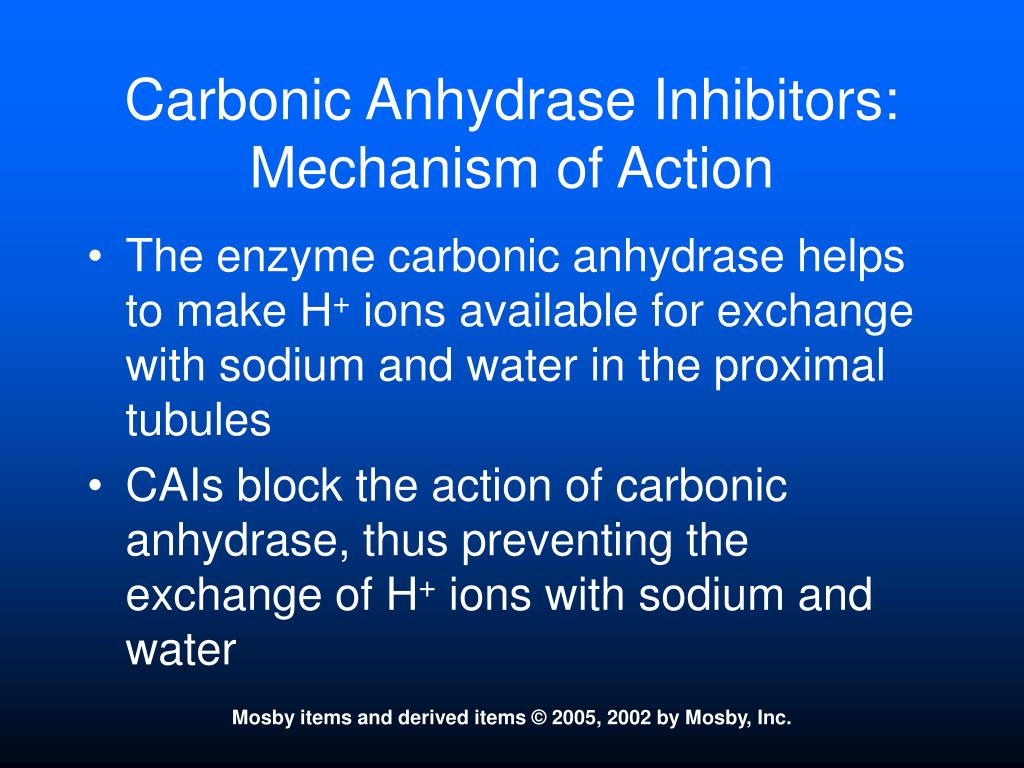 Carbonic Anhydrase Inhibitors:  Mechanism of Action