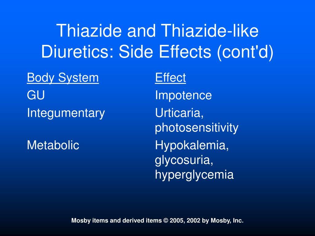 Thiazide and Thiazide-like Diuretics: Side Effects (cont'd)